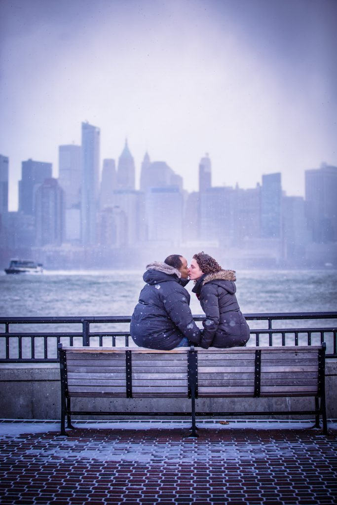 Kissing at NYC skyline