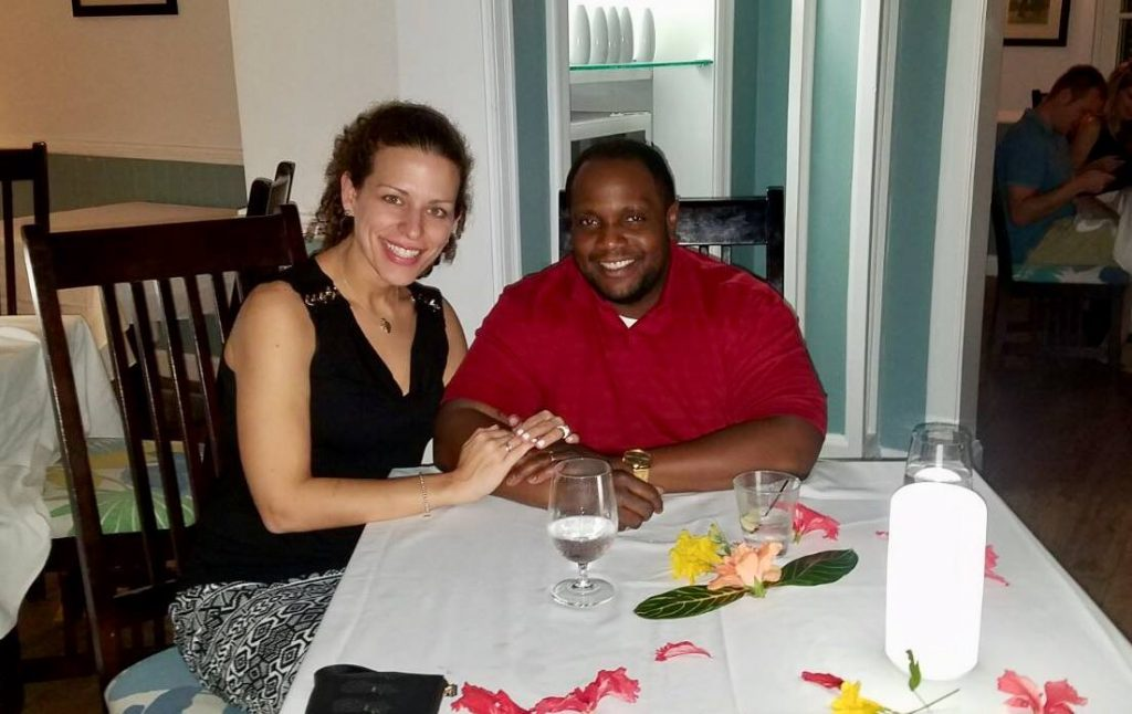 Couple on honeymoon at Sundowner Restaurant, Sandals Negril.