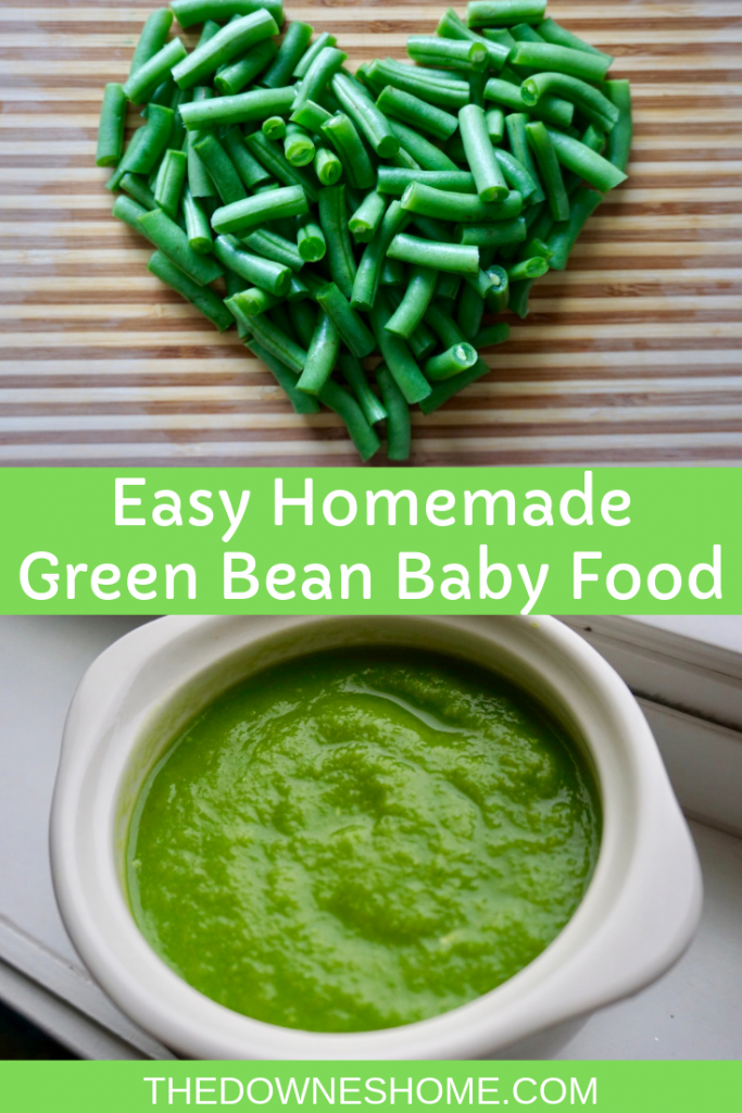Green beans on cutting board and green bean baby food.
