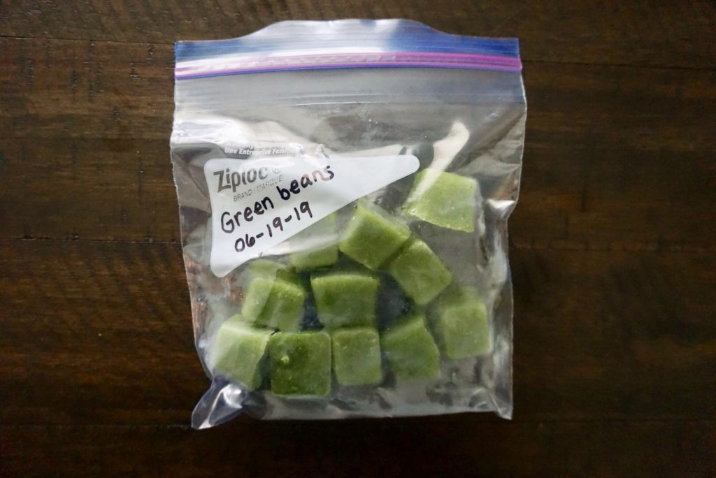 Frozen green bean baby food cubes.
