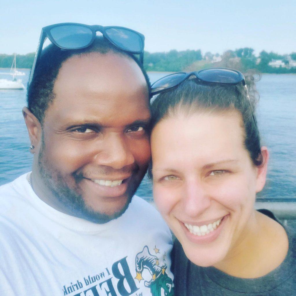 Husband and wife by Harborside Marina, Perth Amboy, NJ.