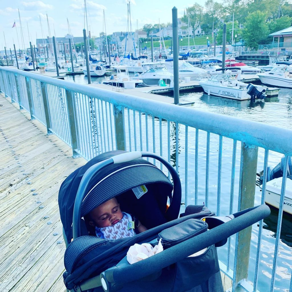 Perth Amboy Harborside Marina - boats in the water and baby sleeping in stroller.