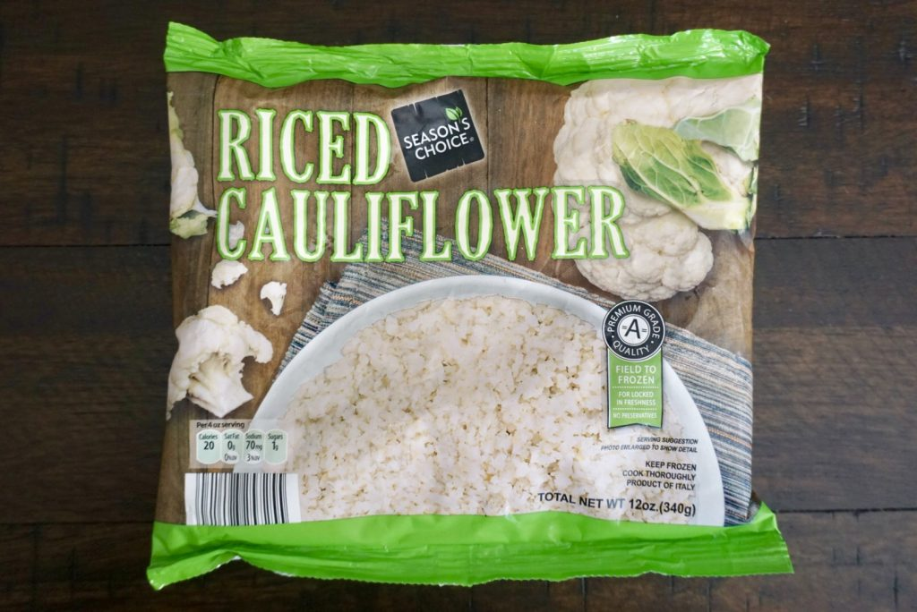 A bag of store bought riced cauliflower.