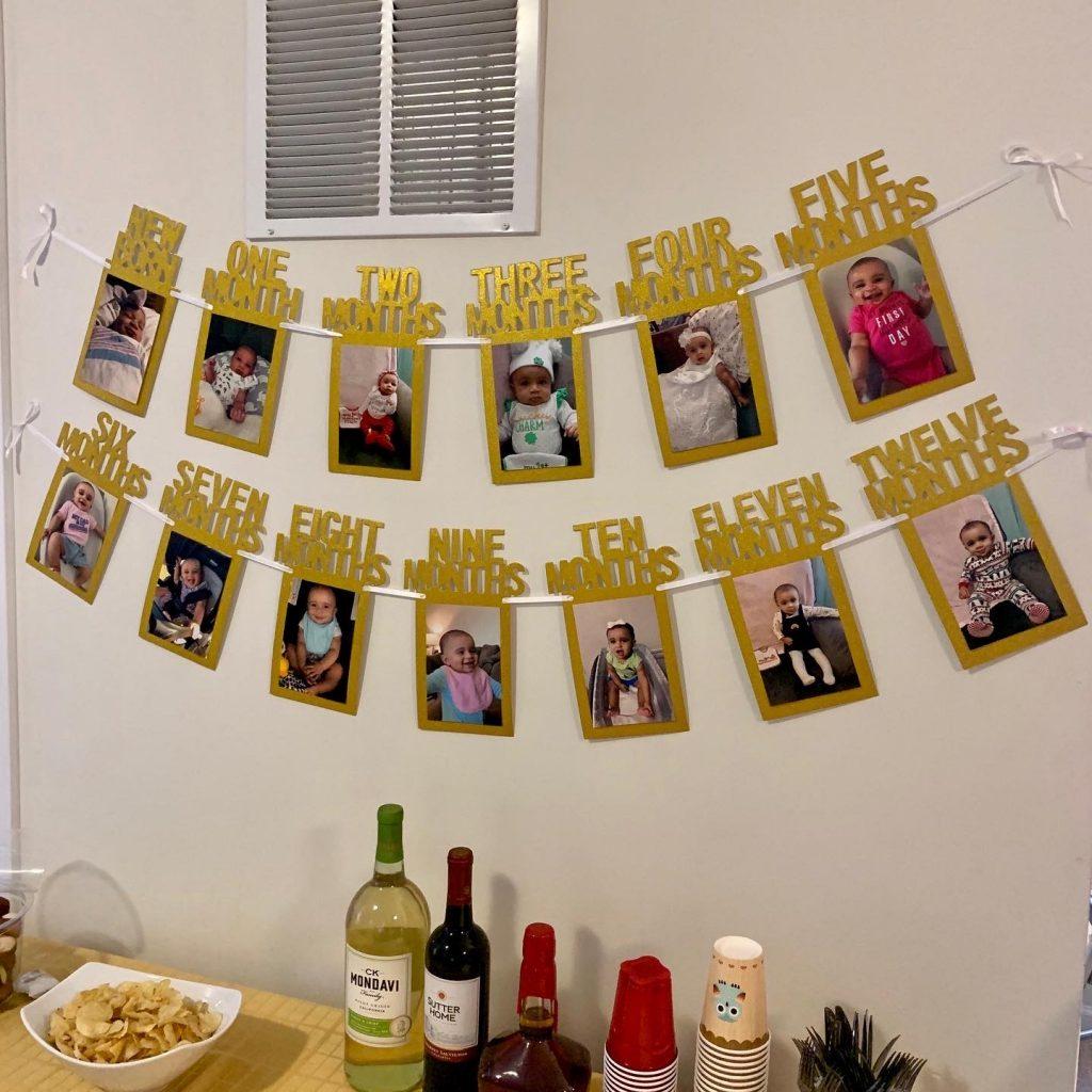 First birthday photo banner.