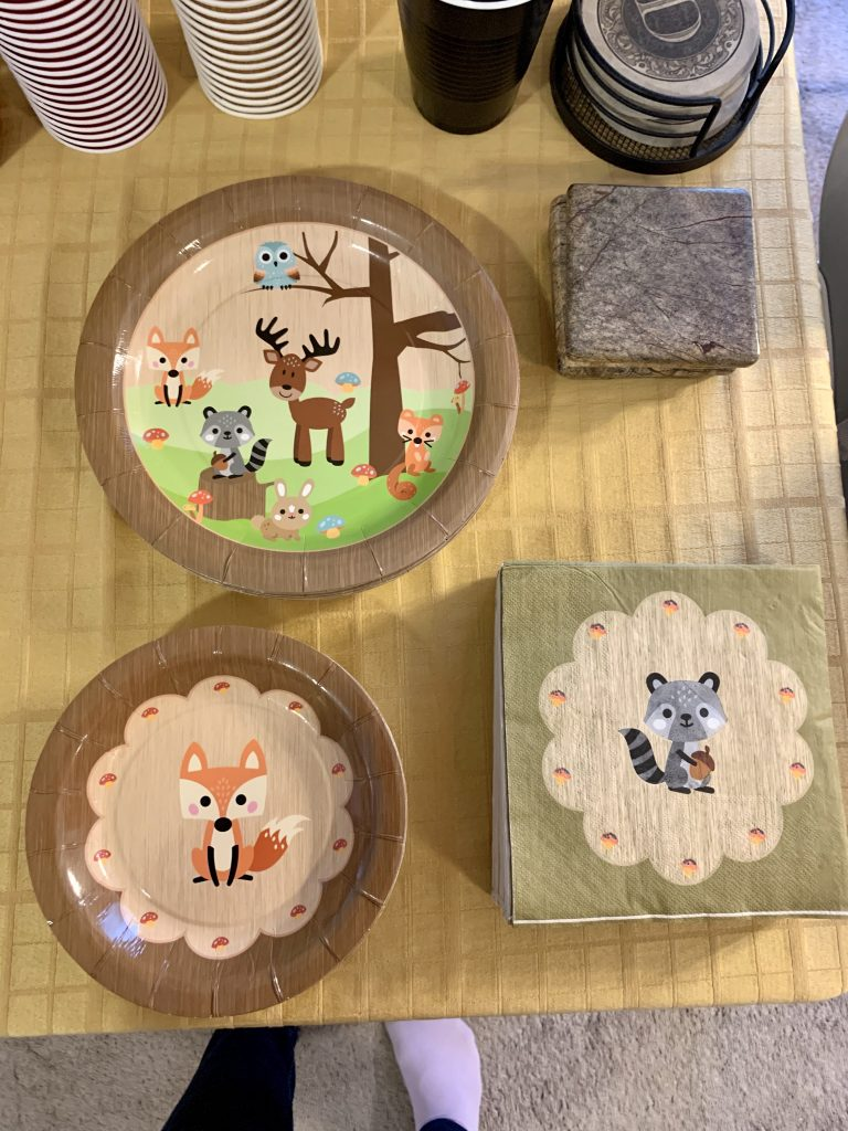 Woodland themed birthday party paper goods (plates, napkins).
