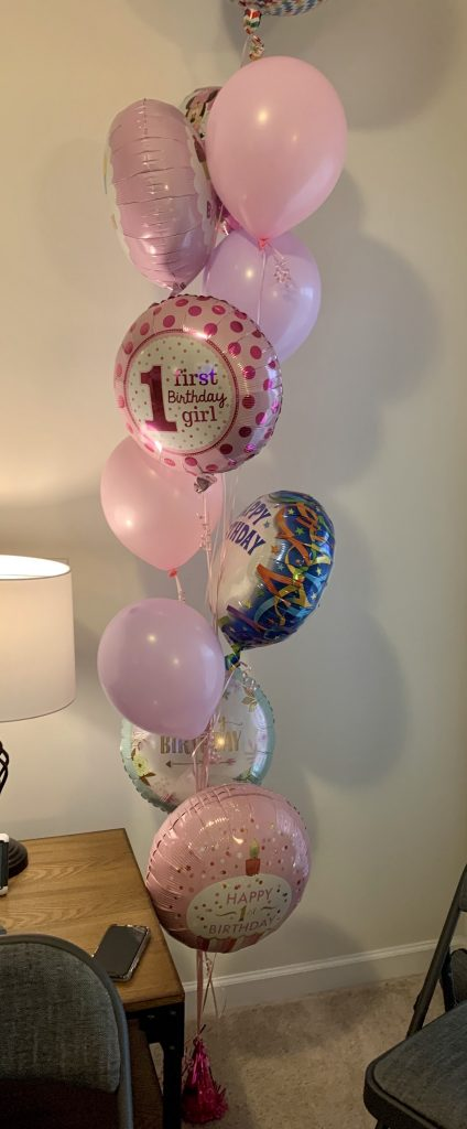 First birthday balloons.