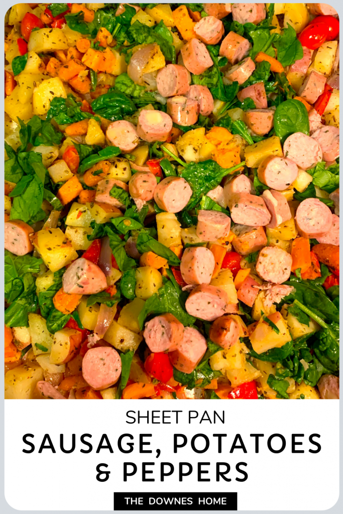 Sheet pan sausage, potatoes, & peppers.