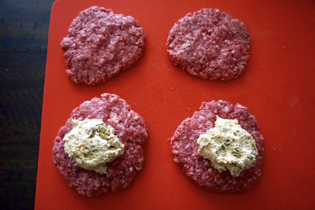 Burger patties with filling.