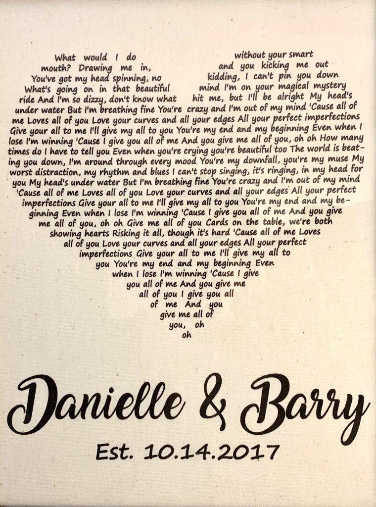 Wedding song lyrics in frame
