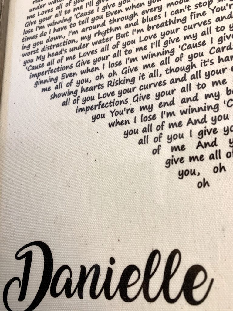 Close up of personalized gift