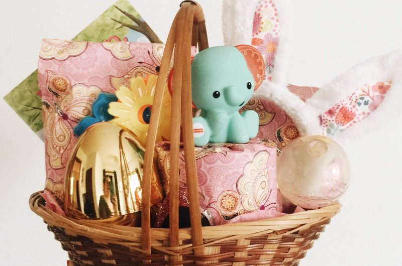 Easter basket filled with toys